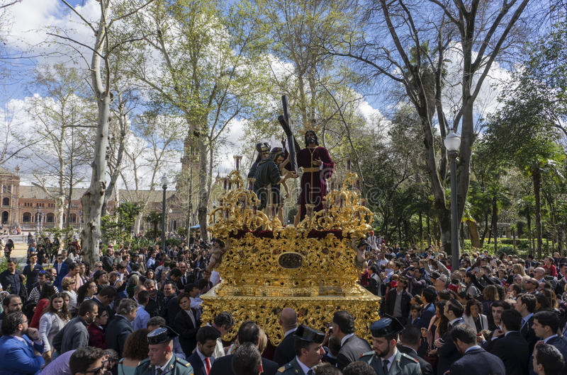 Holy Week in Seville, brotherhood of peace royalty free stock photography