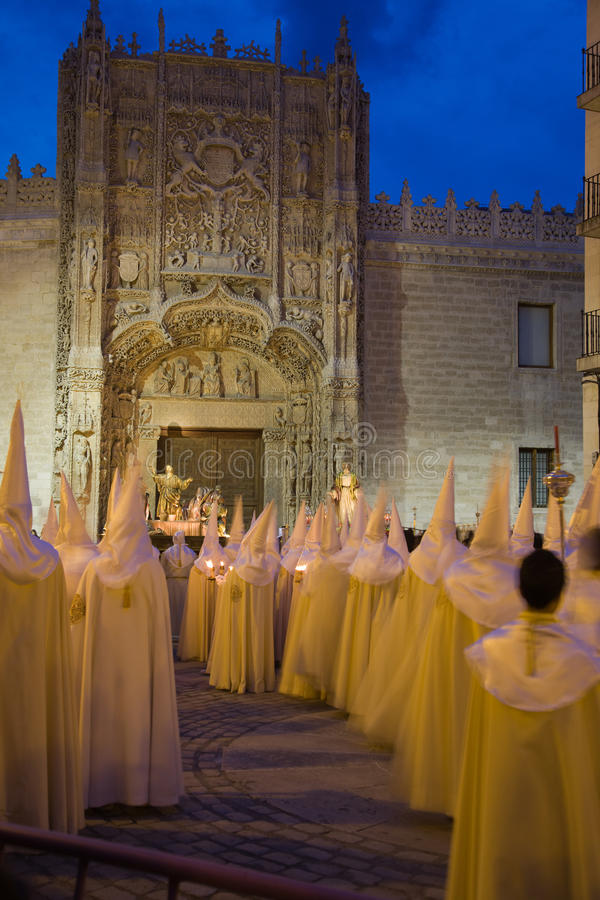 Holy week in Valladolid, Spain. Nazarenos parade during the celebration of holy week (semana santa) in Valladolid, Spain stock image
