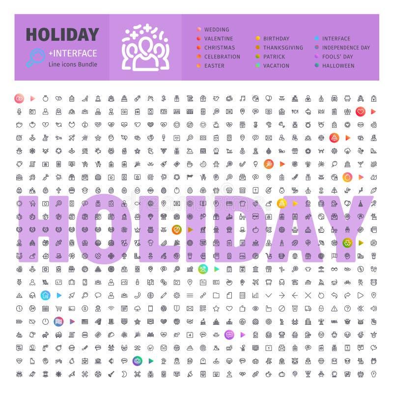 Holyday Thematische Inzameling van Lijnpictogrammen vector illustratie