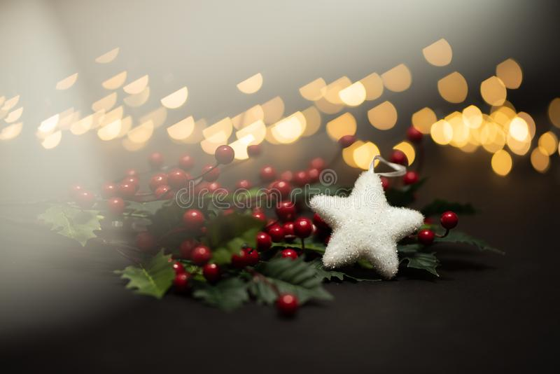 Holyy fruits with white star shot against magical golden lights bokeh in warm tone with prism light royalty free stock image