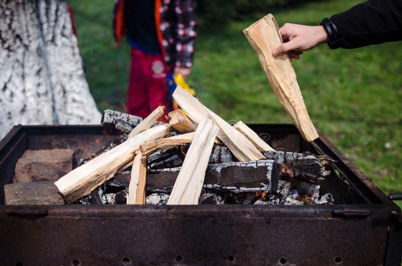 Holz, das in einem Kamin brennt lizenzfreie stockfotografie