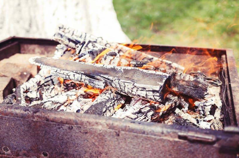 Holz, das in einem Kamin brennt lizenzfreie stockbilder