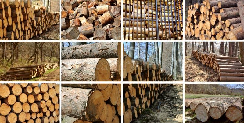 Holz häuft Collage an. stockfoto