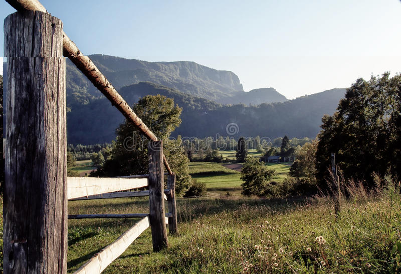 Holz, Wiese und Berge lizenzfreies stockbild