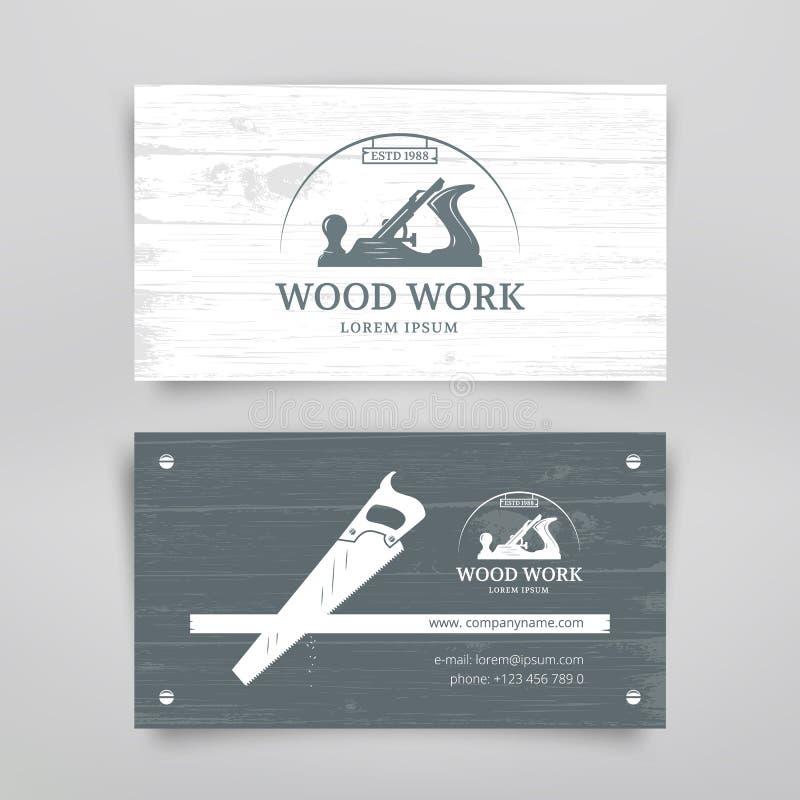 Holzarbeitweinlesekarte lizenzfreie abbildung