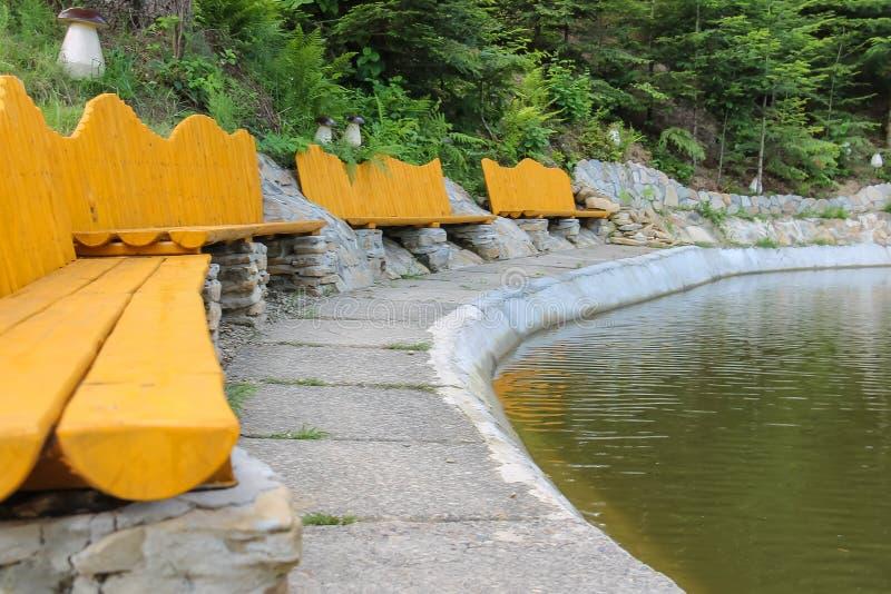 Holzbanken auf Ufer von See in ukrainischem Karpaten stockfotos