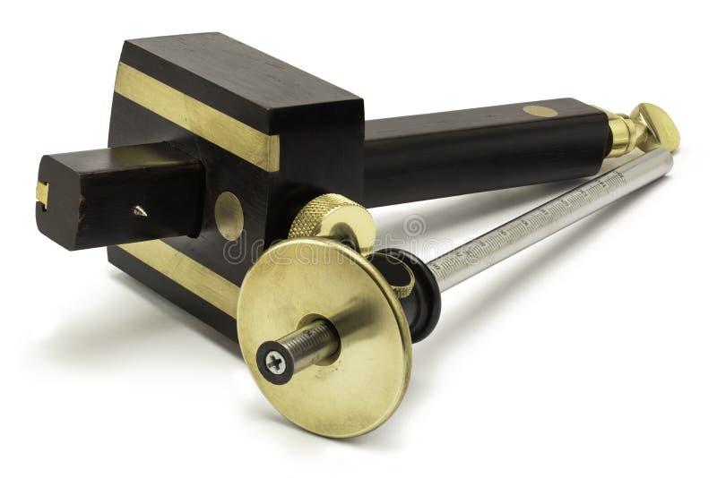 Holzbearbeitungshandwerkzeuge - Markierungsmessgeräte stockfotografie
