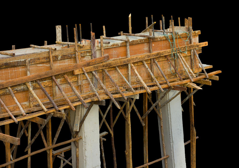 Holzbetonbrückenstrahlen lizenzfreie stockfotos