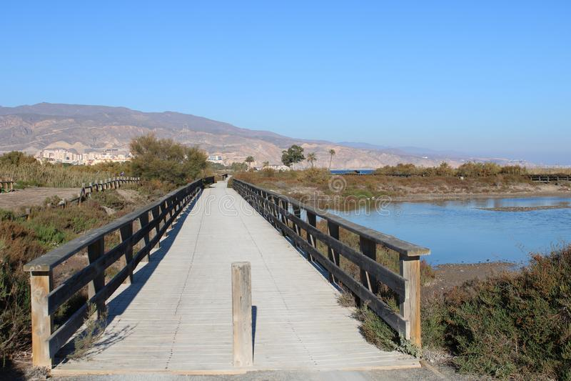 Holzbrücke über kleiner Pfütze lizenzfreie stockfotografie