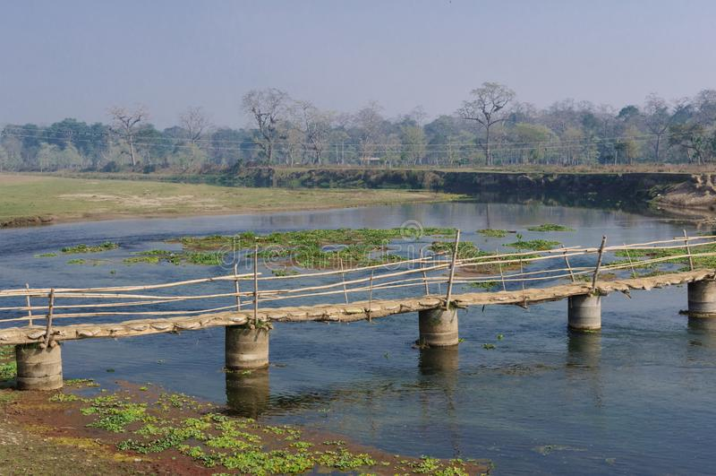 Holzbrücke im Dorf in Brücke Nepals A über dem Fluss Rapti, im Nationalpark Chitwan nepal stockfotografie