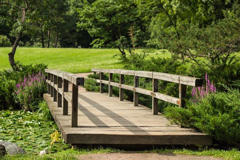 Holzbrücke im japanischen Garten durch den Bogen von Niederlassungen stockbilder