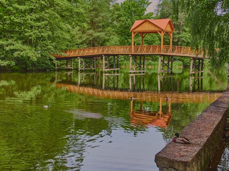 Holzbrücke mit einem Gazebo stockbilder