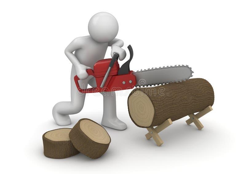 Holzfäller bei der Arbeit stock abbildung