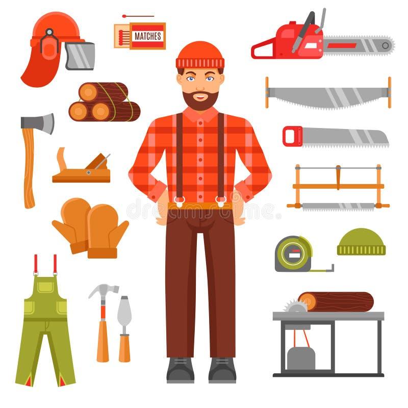 Holzfäller-Decorative Flat Icons-Satz stock abbildung