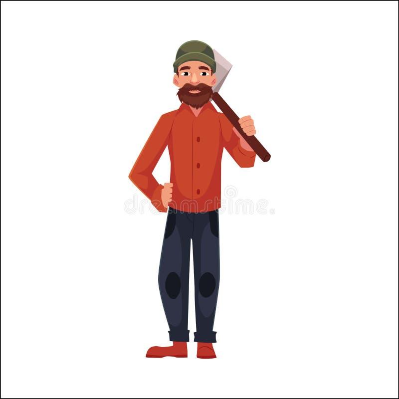 Holzfäller, Holzfäller, Holzfäller, der eine Axt steht und hält vektor abbildung