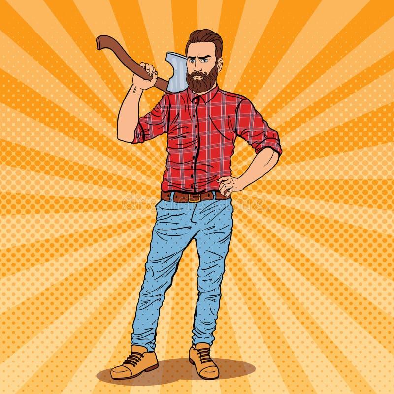 Holzfäller mit Bart und Axt Holzfäller-Arbeitskraft Pop-Arten-Weinleseillustration lizenzfreie abbildung