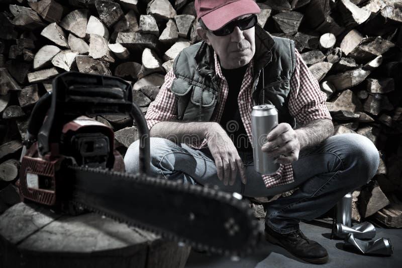 Holzfäller mit Kettensäge stockbild