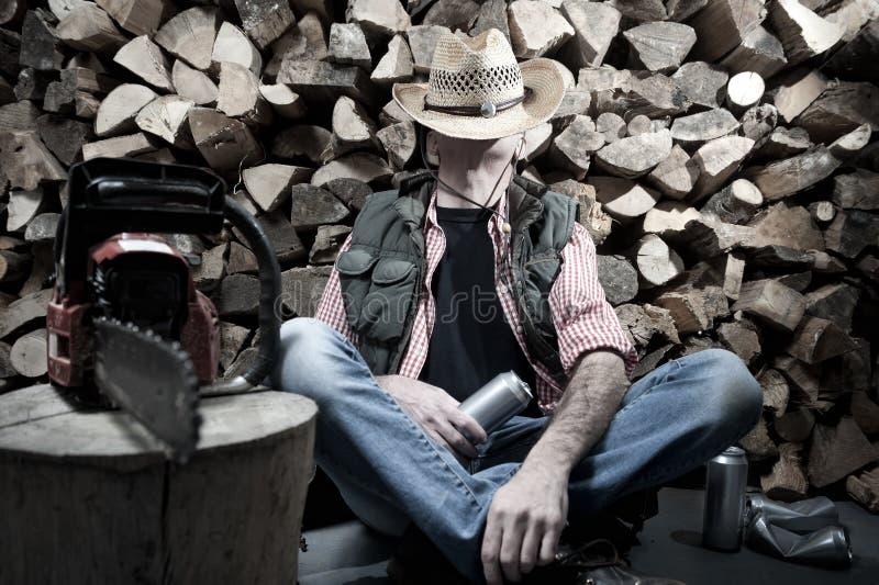 Holzfäller mit Kettensäge lizenzfreies stockfoto