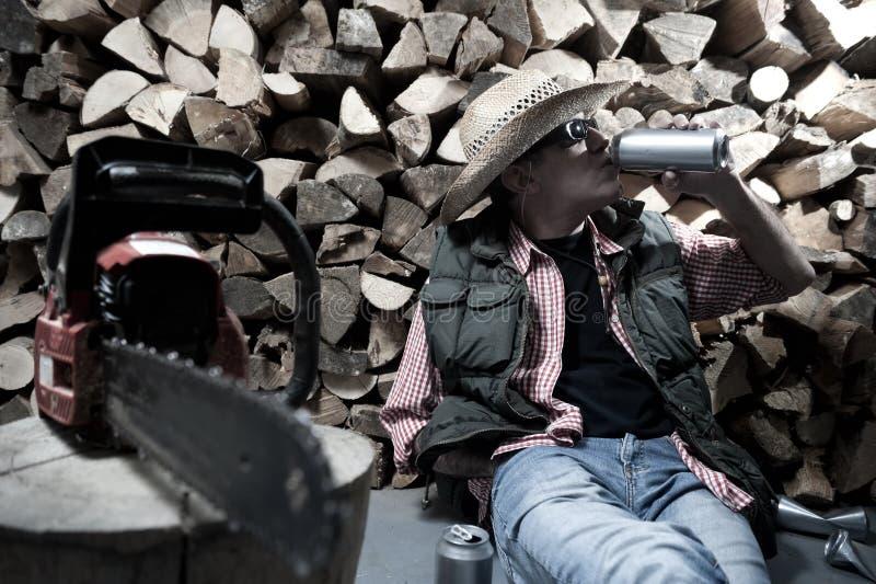 Holzfäller mit Kettensäge lizenzfreie stockfotografie