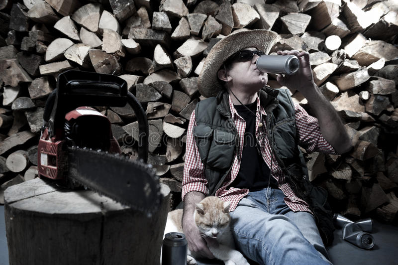 Holzfäller mit Kettensäge lizenzfreie stockfotos
