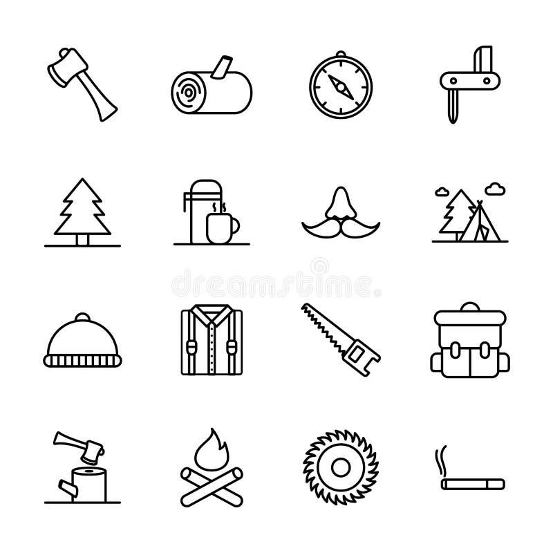 Holzfäller- u. Holzfällerikonensatz stock abbildung