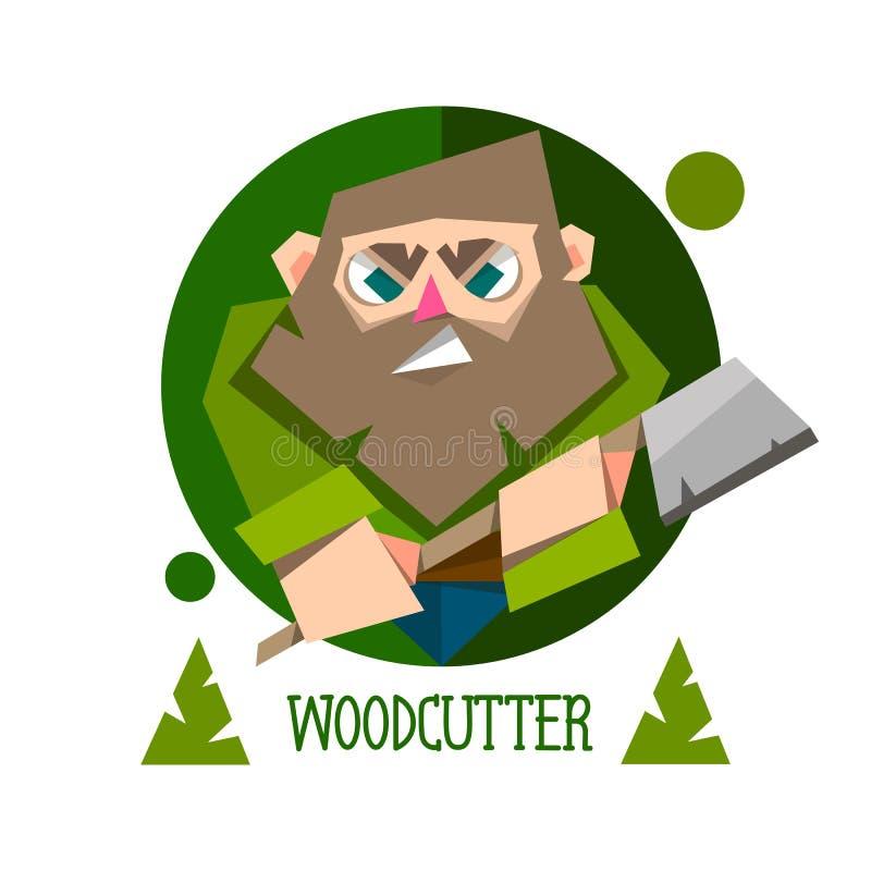 Holzfäller-Vektorcharakter des Holzfällers bärtiger mit einer Axt vektor abbildung