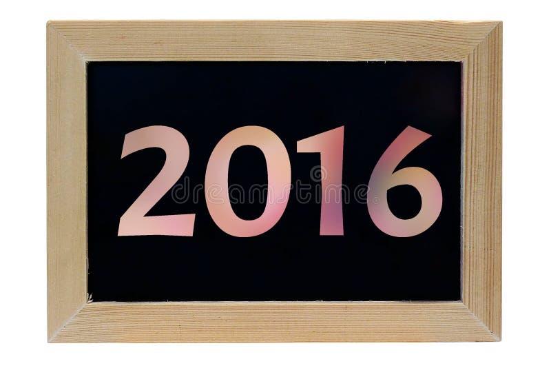 Holzfotorahmenisolat-Weißhintergrund à ¹  Jahres 2016 lizenzfreie stockfotos