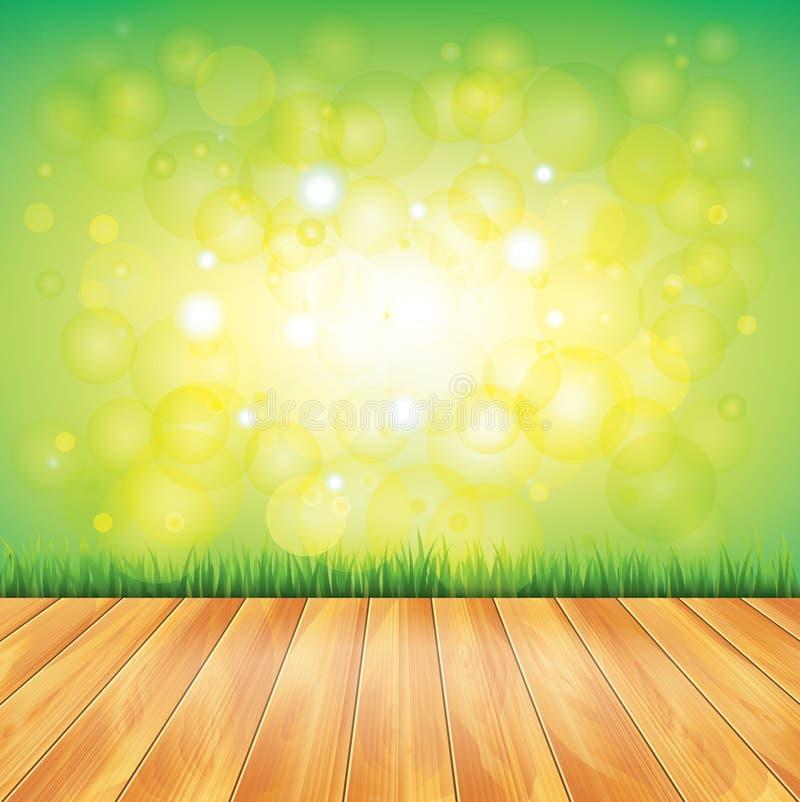 Holzfußboden und grünes Gras, Vektorhintergrund lizenzfreie abbildung