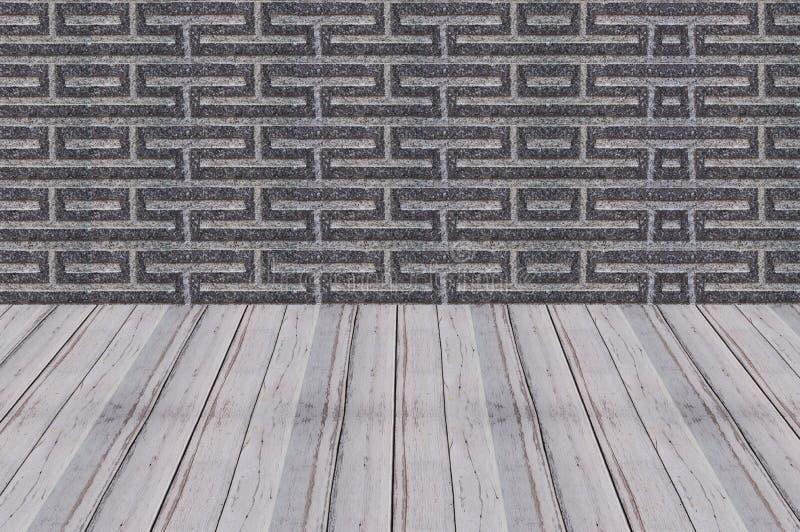 Holzfußbodenperspektivenzement-Wandhintergrund lizenzfreies stockbild