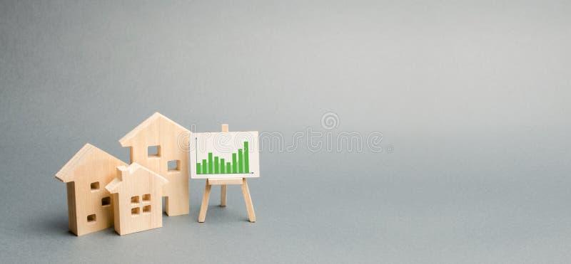 Holzh?user mit einem Stand von Grafiken und von Informationen Steigende Nachfrage nach der Unterkunft und den Immobilien Wachstum lizenzfreie stockfotos