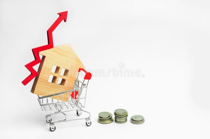 Holzhaus in einer Supermarktlaufkatze und in einem roten Pfeil oben Konzept der hoher Nachfrage für Immobilien erhöhen Sie Energi lizenzfreie stockbilder