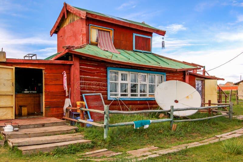 Holzhaus, Mittel-Mongolei stockbild