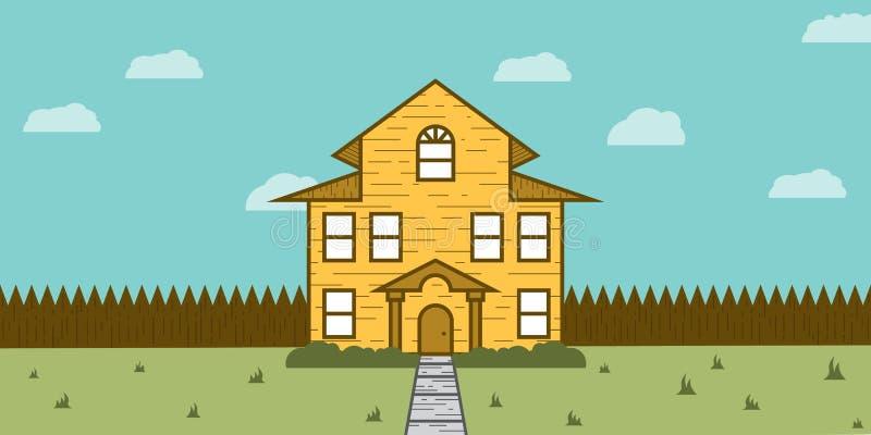 Holzhaus Real Estate für Verkauf stock abbildung