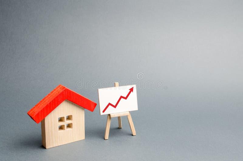 Holzhaus und Stand mit rotem Pfeil oben Steigende Nachfrage nach der Unterkunft und den Immobilien Das Wachstum der Stadt und sei lizenzfreies stockfoto