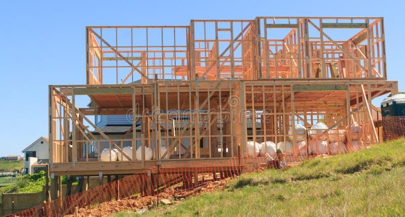 Holzhausbau, errichtende Häuser in Neuseeland stockfoto