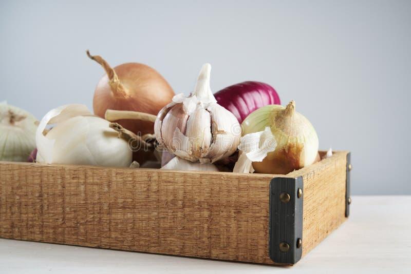 Holzkiste mit frischem Knoblauch und Zwiebel auf weißem Hintergrund Stillleben mit rohem Gemüse Konzept des gesunden Lebensmittel lizenzfreie stockfotos
