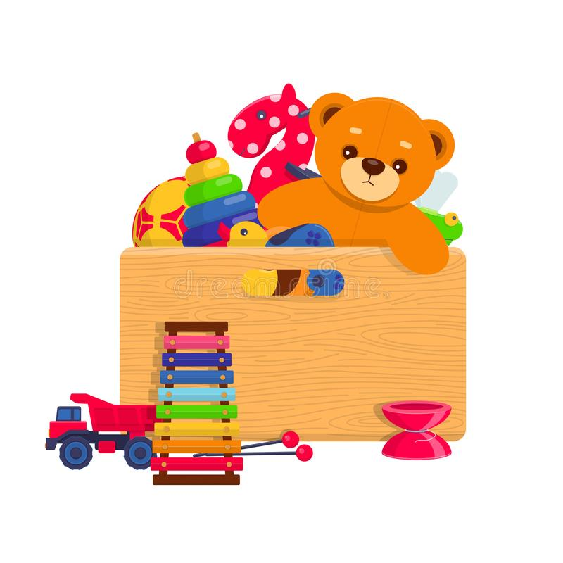 Holzkiste voll Kinderspielwaren stock abbildung
