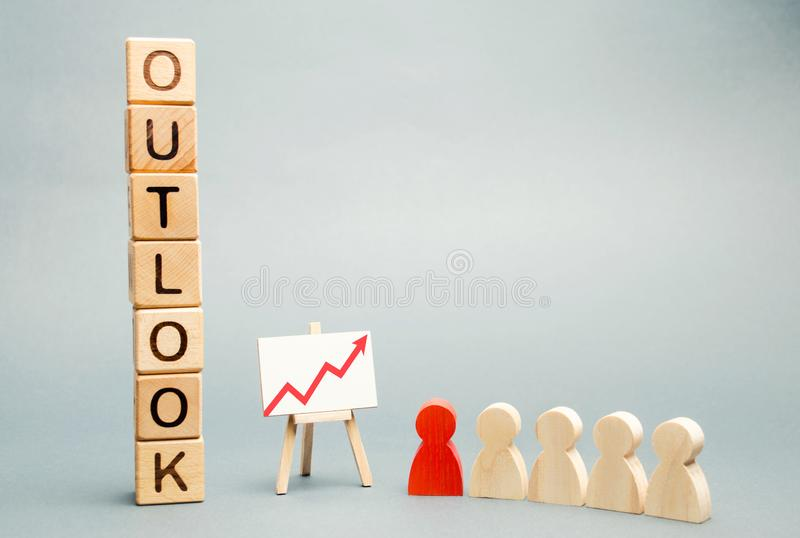 Holzklötze mit der Wort Aussicht, Geschäftszeitplan und einem Team mit einem Führer Erfolgreiche Prognose und erfolgreiches Gesch lizenzfreie stockfotografie
