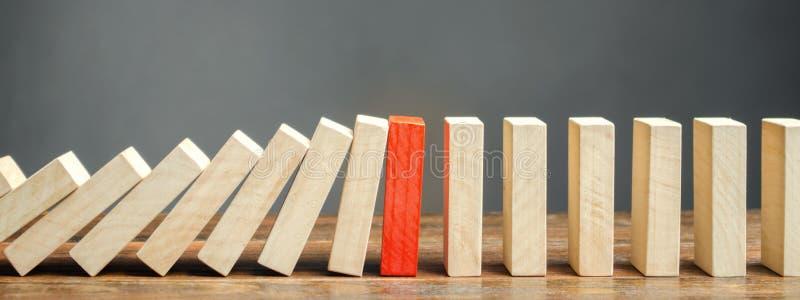 Holzklötze und der Effekt von Dominos Risikomanagement-Konzept Erfolgreiches starkes Geschäft und Lösen von Problemen Zuverlässig stockbilder