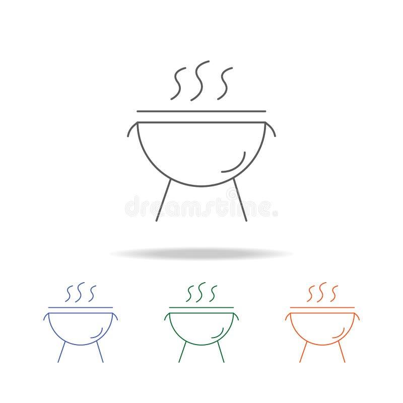 Holzkohlengrillikone Element einer multi farbigen Ikone der Partei für bewegliche Konzept und Netz apps Dünne Linie Ikone für Web lizenzfreie abbildung
