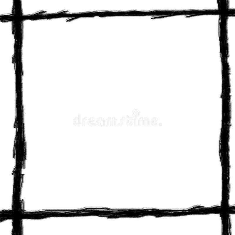 Holzkohlezeichnungszeile von Rahmenweiß backgroun lizenzfreies stockbild