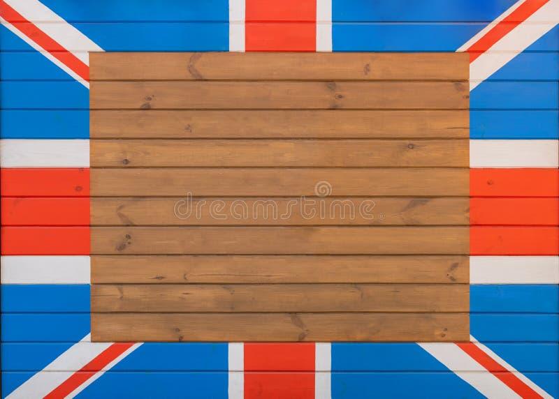 Holzpappe mit bemalteter Flagge der britischen Union Nationales Symbol des Vereinigten Königreichs Leerstelle für Text in der Mit stockfotos