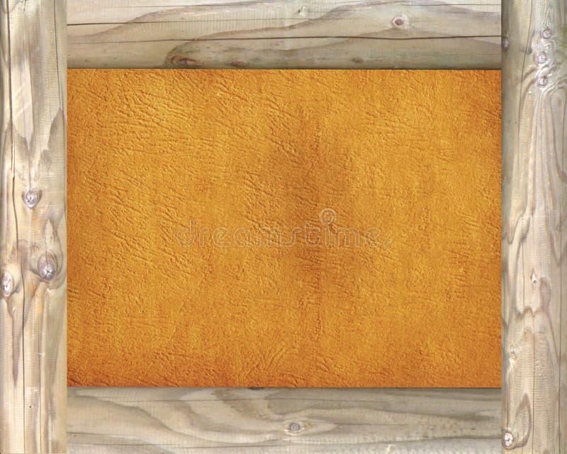 Holzrahmen auf Pergamenthintergrund lizenzfreie stockfotos
