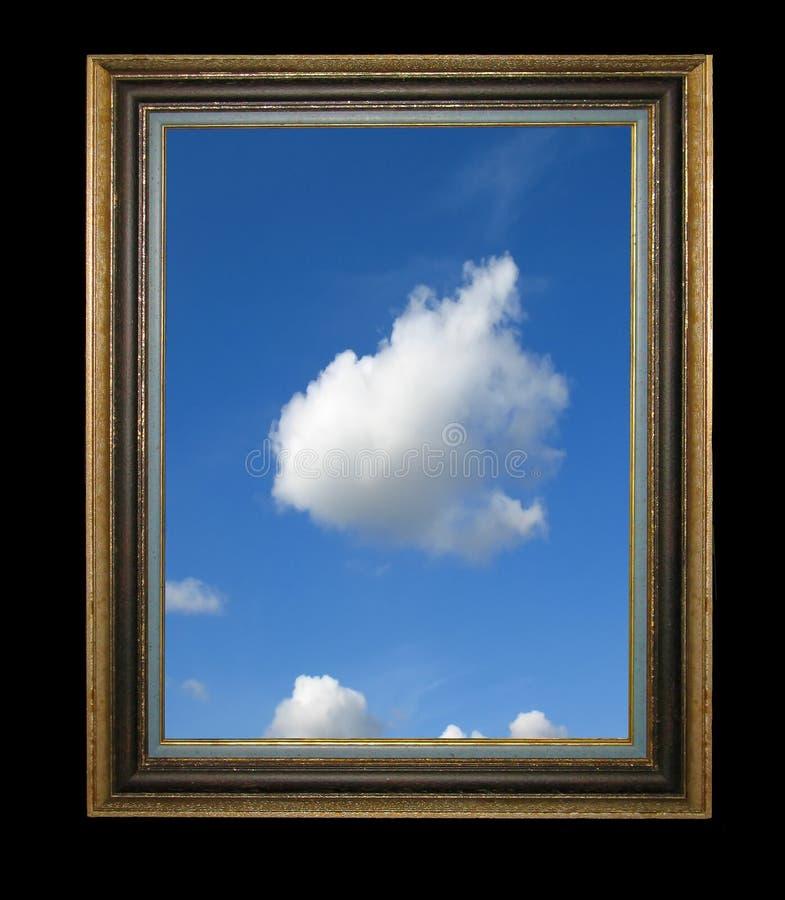 Holzrahmen der alten Weinlese mit blauem Himmel in ihm lizenzfreie stockbilder