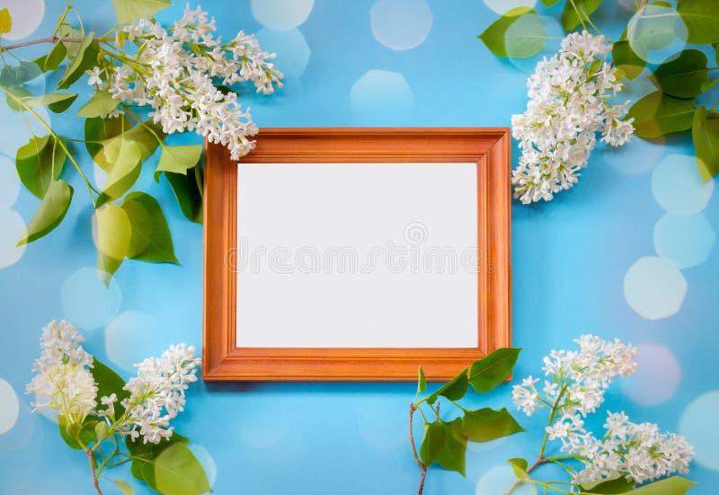 Holzrahmen und Blumen der weißen Flieder auf blauem Hintergrund lizenzfreie stockfotos
