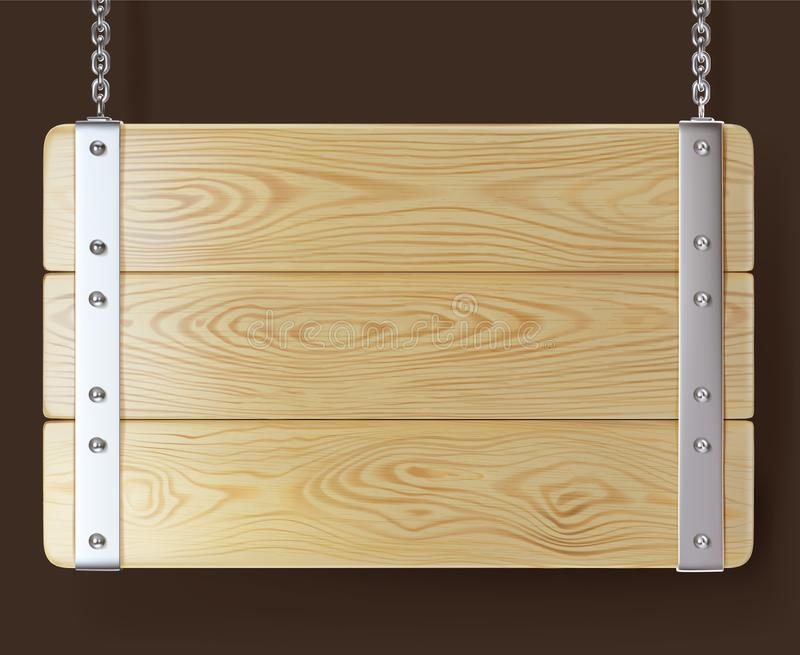 Holzschild mit dem Eisen, das an den Ketten hängt lizenzfreie abbildung