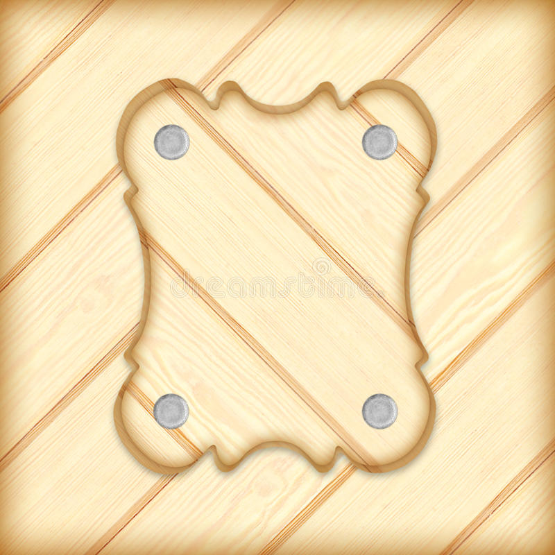 Holzschildbrettrahmen auf hölzernem Plankenhintergrund lizenzfreies stockbild