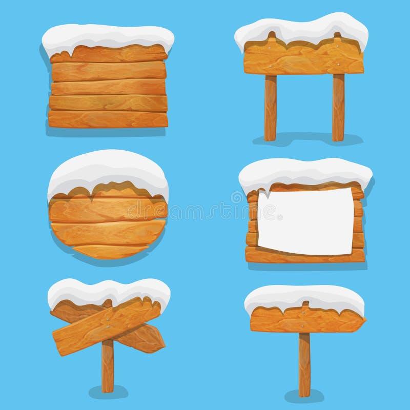 Holzschilder mit Schnee Winterurlaubvektorelemente Weihnachtshölzerne Anschlagtafelfahne, Schild Richtungs lizenzfreie abbildung