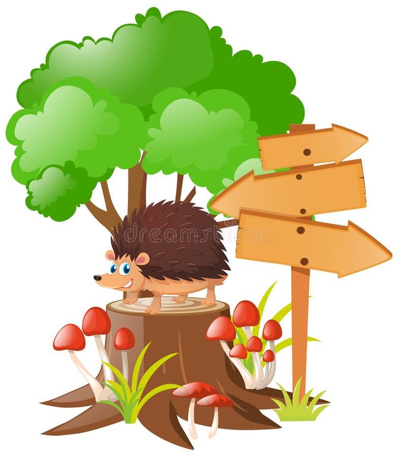 Holzschilder und Igeles auf Stumpfbaum stock abbildung