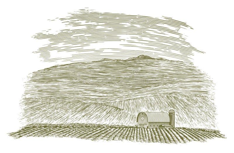 Holzschnitt-Bauernhof-Scheune und Feld vektor abbildung